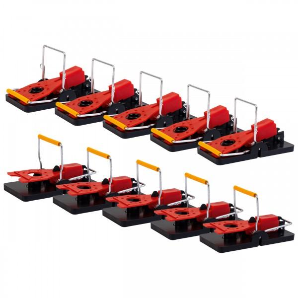 Schlag-Mausefalle 10er-Set DE – die Mausefalle in Schwarz, Rot, Gold für den Einsatz oder als Geschenk- und Bastelidee von Gardigo